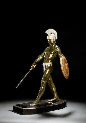 Max Le Verrier 'Heros Grec' a Large Patinated Bronze Figure of a Soldier, circa 1925