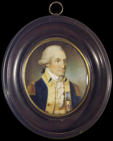 (n/a) Edward Savage (American, 1761-1817) George Washington (1732-1799), President of the United States of America (1789-1797), wearing blue uniform with cream facings and gold epaulettes, cream waistcoat and frilled white chemise, the badge of the Society of Cincinnati pinned to his coat, his powdered wig worn en queue with a black ribbon