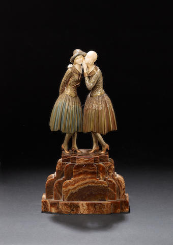 Demetre Chiparus  'The Secret' a Cold-Painted and Carved Ivory Figural Group, circa 1925