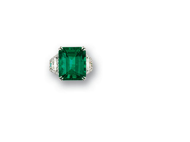 An exceptional emerald and diamond ring   diamonds approximately 2.10 carats total
