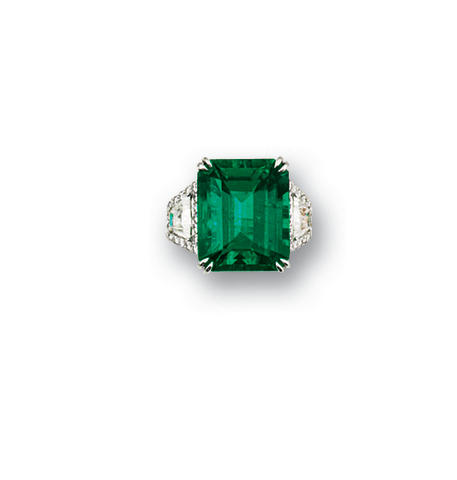 An exceptional emerald and diamond ring