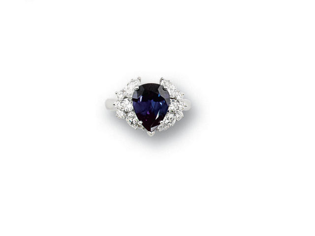 An alexandrite and diamond ring   diamonds approximately 1.65 carats total