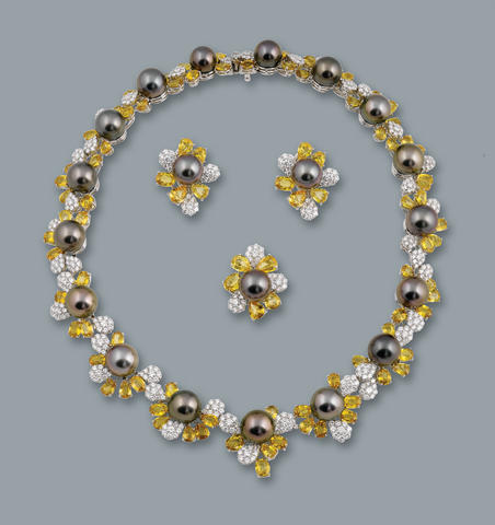 A cultured pearl, sapphire and diamond necklace, ring and earring suite  diamonds approximately 20.80 carats total, sapphires approximately 84.80 carats total
