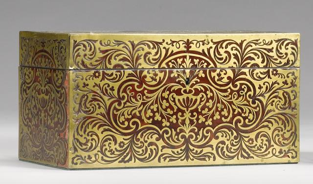 A 19th century tortoiseshell and brass marquetry tea caddy