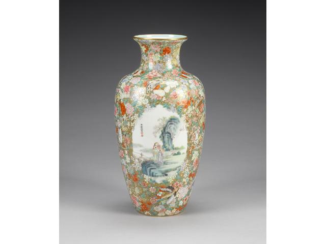 A famille rose oviform vase Four-character hallmark
