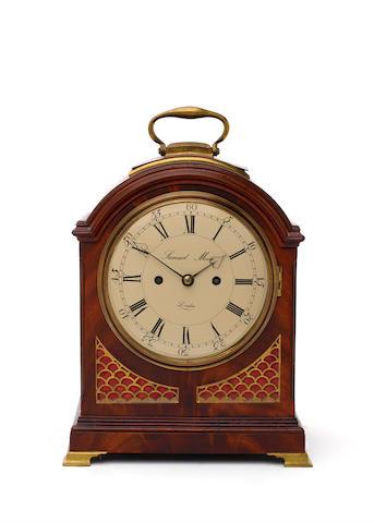 An early 19th century mahogany pad-topped bracket clock Samuel Moore, London