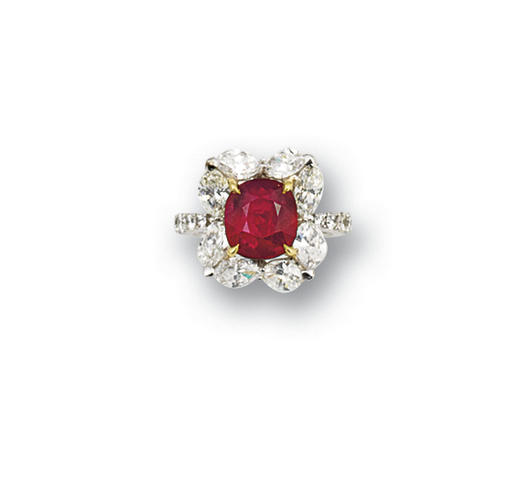 An impressive ruby and diamond ring diamonds approximately 2.50 carats total