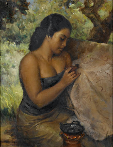Raden Basoeki Abdullah (Indonesian, 1915-1993) An Indonesian beauty  45 x 36 cm. (17¾ x 14¼ in.)
