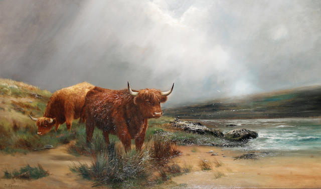 Daniel Sherrin (British, 1868-1940) Highland cattle on the edge of a beach