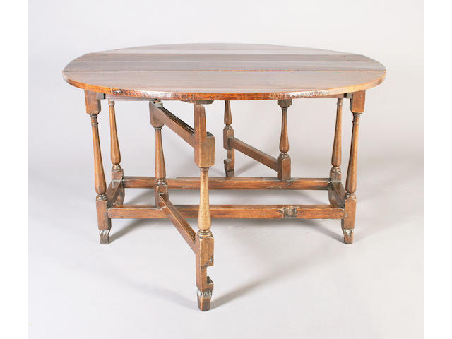 A late 17th/early 18th century and later oak gateleg table
