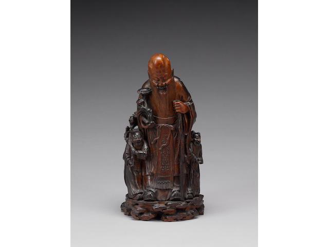 An elegant bamboo sculpture of The Daoist, Shoulao;