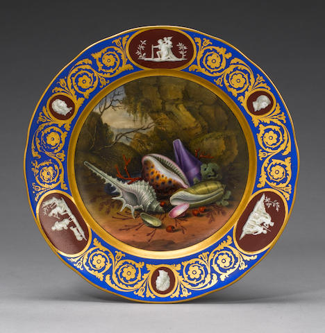 A fine shell-painted cabinet plate circa 1825-40
