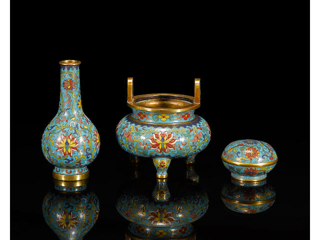 An assembled gilt bronze and cloisonné enamel 'incense garniture' set Qianlong four-character marks and of the period