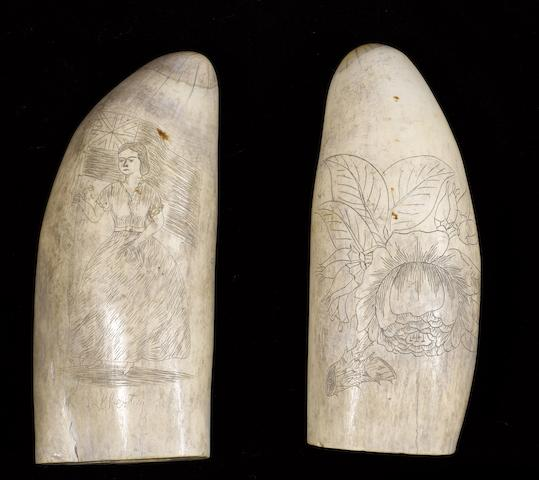 A pair of scrimshawed sperm whale's teeth,  mid 19th century,  5 1/4in (13cm) high