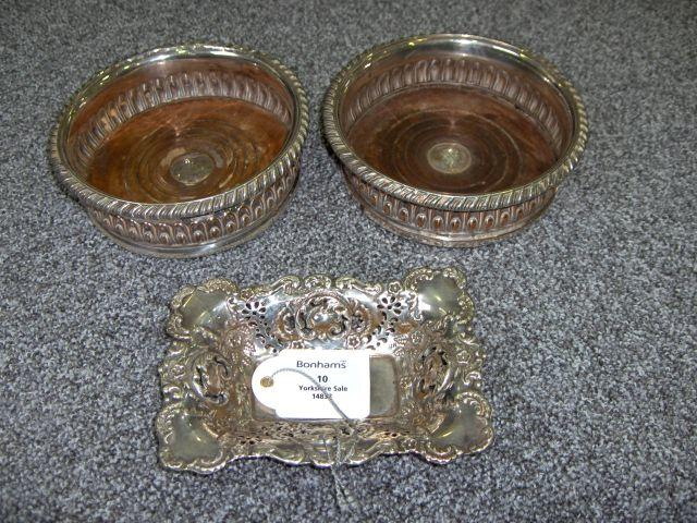 A pair of Old Sheffield Plate coasters unmarked, circa 1800
