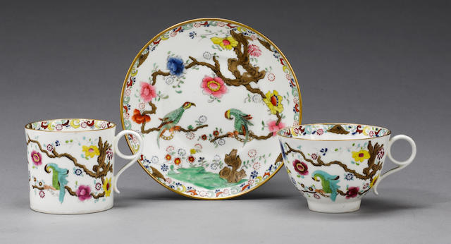 A rare Swansea teacup, coffee can and saucer circa 1815-17