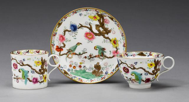 A rare Swansea teacup, coffee can and saucer circa 1815-17