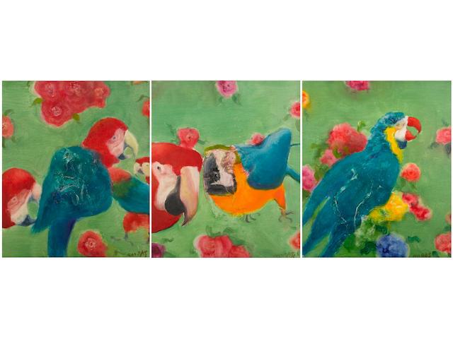 Zhou Chunya (b.1955) Parrots