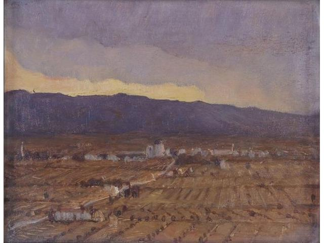 "Sir William Blake Richmond (British, 1842-1921) ""Storm Coming, Plain of Umbria"" and ""Assisi and Monte Subasio, Mid-Day"", 12.8 x 16.5cm each.  ((2))"
