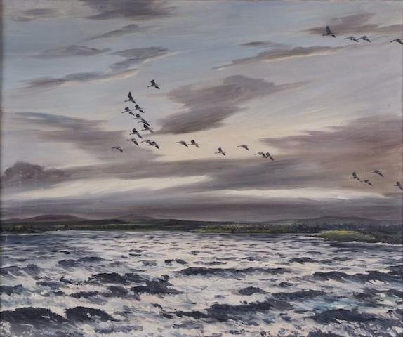 Hugh Monahan (Irish, 1914-1970) Coastal scene with skein of geese, 62 x 76cm.