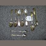 Five Victorian fiddle pattern teaspoons by Reid and Sons, Newcastle 1853