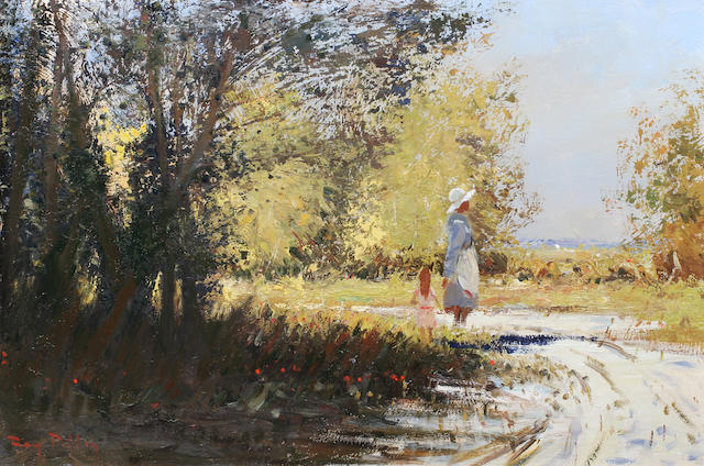 Roy Petley (British, born 1951) Walk in the Park 51 x 76cm.