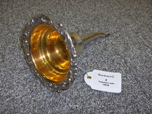 An Old Sheffield Plate wine funnel unmarked, circa 1825