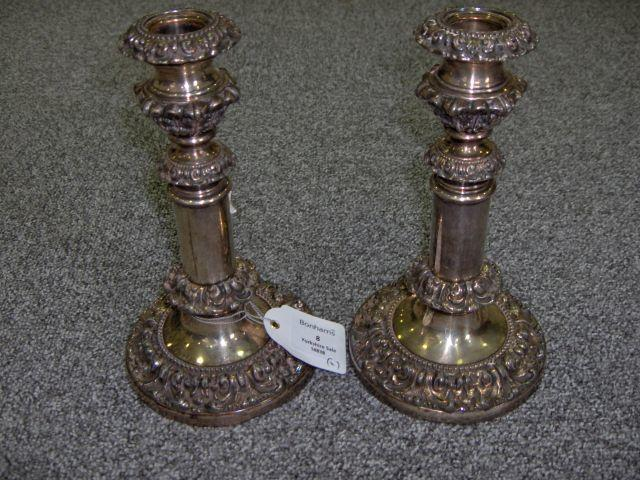 A pair of Old Sheffield Plate telescopic candlesticks unmarked, circa 1820