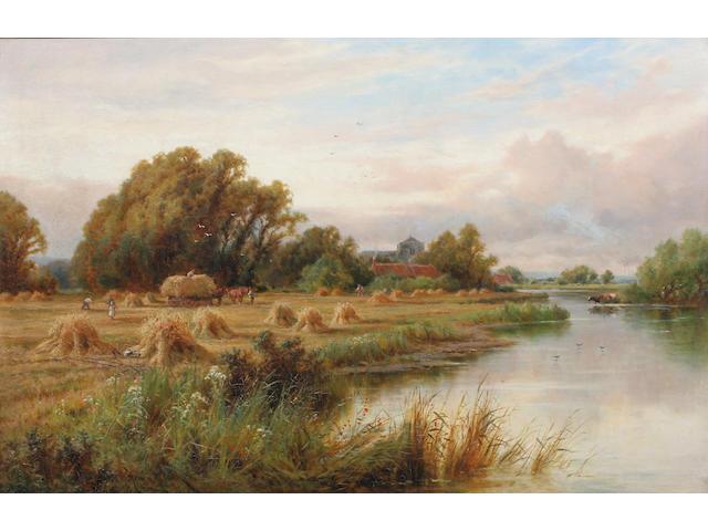 Henry H. Parker (British, 1858-1930) 'Harvest Time. On The Banks Of The Thames. Nr. Streatley, Berks.' 61 x 92cm.