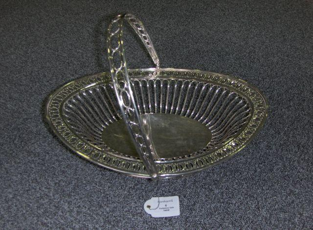 An Old Sheffield Plate swing-handled basket unmarked, circa 1800