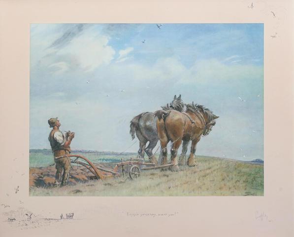 Charlie Johnson Payne, 'Snaffles' (British, 1884-1967) 'Enjoyin yerselves, aren't yer?' 63 x 77.5cm In old walnut veneered frame.