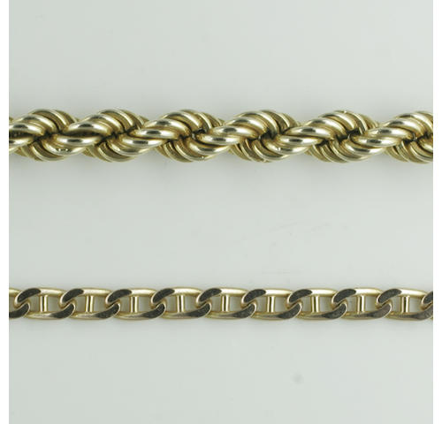 A 9ct gold large ropetwist chain necklace, (2)