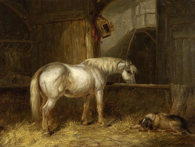 Thomas Smythe (British, 1825-1906) Terriers ratting in a barn (and a companion, Grey horse and dog in a stable.(2))