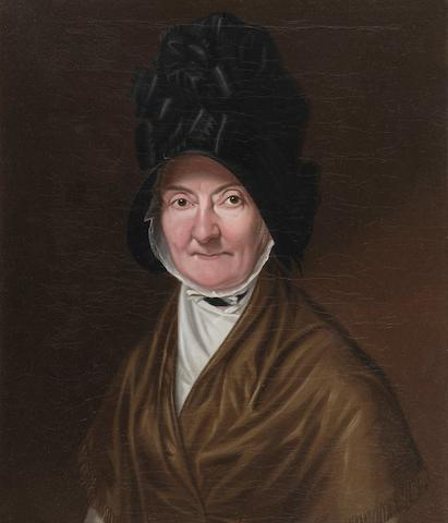 English School, circa 1820, (circa 1820) A portrait of an elderly lady in cap and shawl