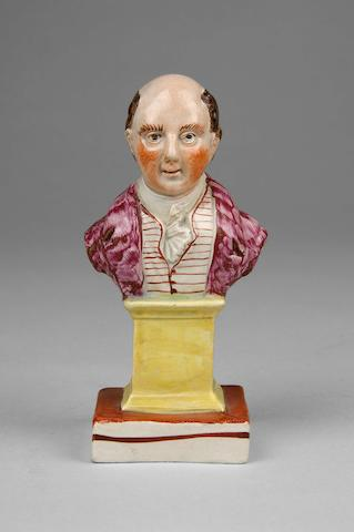 A small Staffordshire enamelled pearlware titled bust of Lord Canning circa 1800,