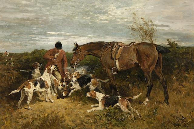 John Emms (British, 1843-1912) A huntsman blowing 'Gone to ground'