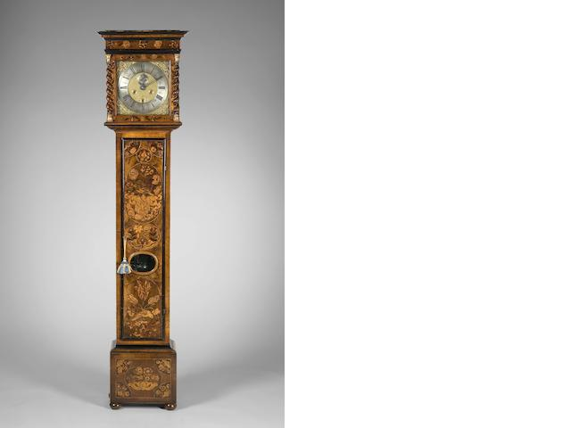 A William and Mary walnut and marquetry longcase clock Cornelius Herberte, London