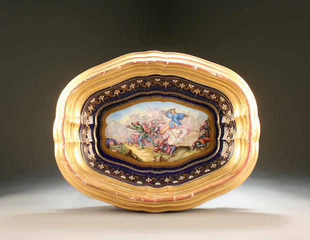 A Sèvres framed porcelain oval dish 19th Century