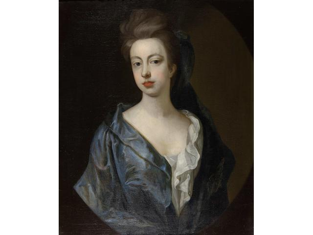Follower of Hans Hysing (Swedish, 1678-1752) Portrait of a lady in blue gown, half length