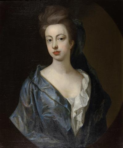 Follower of Hans Hysing (Swedish, 1678-1752) Portrait of a lady in blue gown, half length
