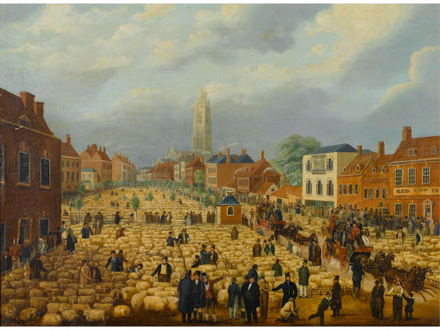 After George Northouse The Boston May Sheep Fair 63.5 x 86.4cm. (25 x 34in.)