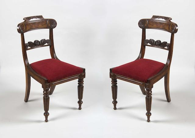 A good set of eight George IV Scottish mahogany dining chairs in the manner of William Trotter of Edinburgh