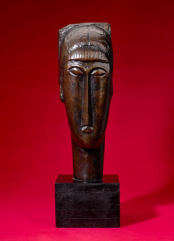 Amedeo Modigliani (Italian, 1884-1920) Tête à la frange Height: 50 cm (19 3/4 in) Width: 17.2 cm (6