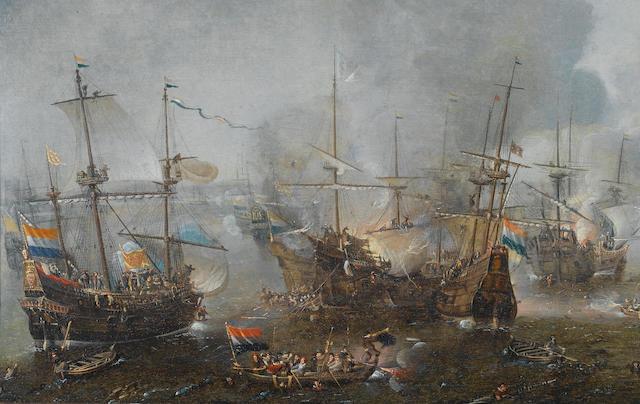 Cornelis Claesz. van Wieringen (Haarlem circa 1580-1633) The Battle of Gibraltar, 1607 48.6 x 114.8