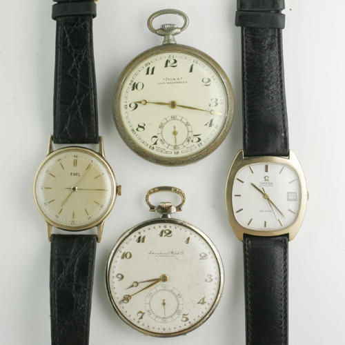 A selection of pocket watches and wristwatches