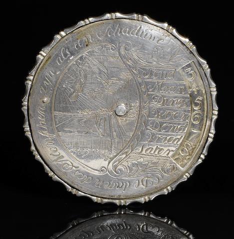 A silver perpetual calendar, German,  18th century,