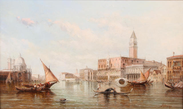 Alfred Pollentine (British, 1836-1890) The entrance to the Grand Canal, Venice,