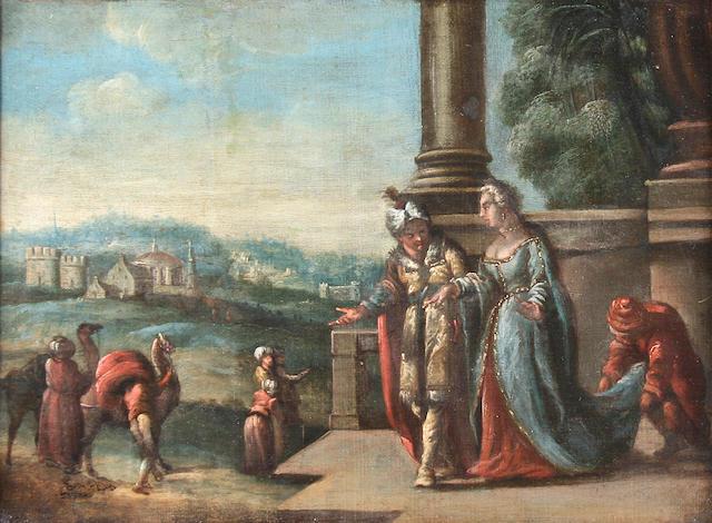 Follower of Francesco Giambattista da Ponte, called Bassano (Bassano 1549-1592 Venice) Arrival of Queen of Sheba in Jerusalem,