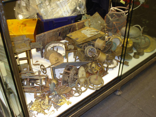 A large selection of clock movements and parts,