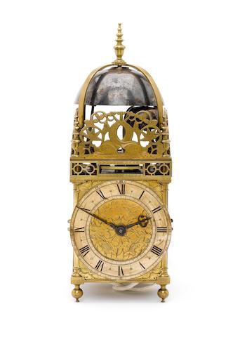 A rare mid 17th century quarter striking brass lantern clock Peter Closon Neere Holburne Bridge Londini Fecit